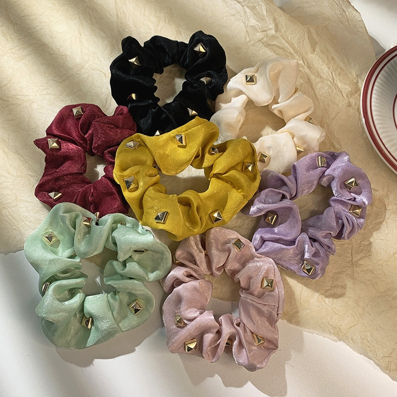 New Style Rivets Decorated Hair Scrunchies Women Solid Elastic Hair Rope Hip Hop Rubber Band Ponytail Holder Fashion Headwear simple semicycle alloy decorated hair band for women