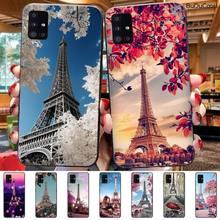 Hrmes 파리 에펠 탑 삼성 갤럭시 A7 A8 A6 플러스 A9 2018 A50 A70 A20 A30 a40에 대 한 검은 휴대 전화 케이스
