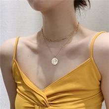 Kpop винтажное Золотое многослойное ожерелье с подвеской для монет, ожерелье с цепочкой на шею для мам, женское ювелирное украшение, подарок на день матери, распродажа