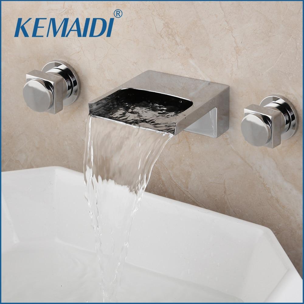 KEMAIDI الصلبة النحاس 3 قطعة صنبور حوض استحمام شلال صنبور الماس مقابض الكروم البولندية حوض استحمام للاستخدام في الحمام خلاط صنبور