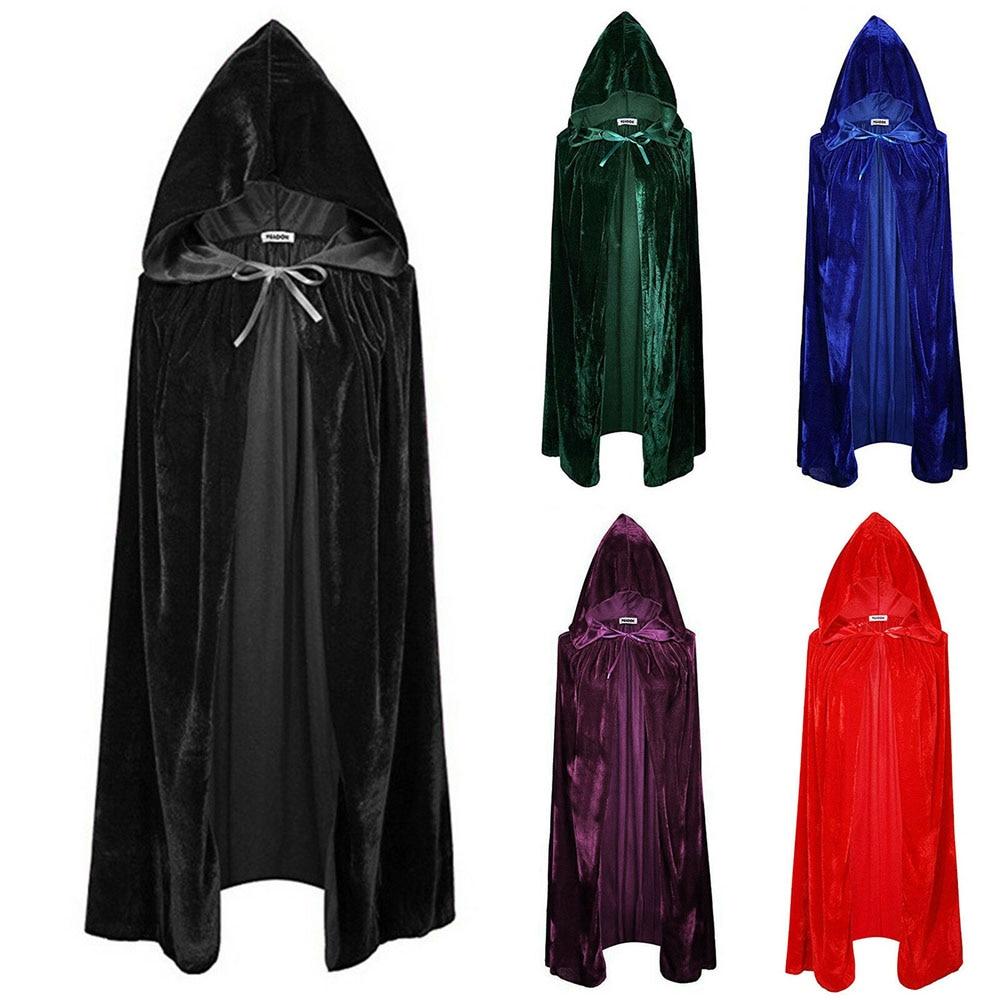 Adult Halloween Velvet Cloak Cape Hooded Medieval Costume Witch Wicca Vampire Halloween Costume Dress Coats 5 Colors