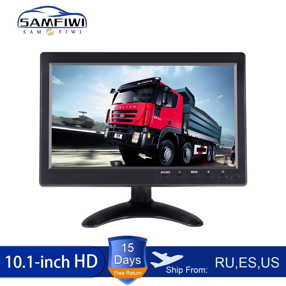 "Monitor para coche con cable de 10,1 "", pantalla HD, cámara de marcha atrás, sistema de aparcamiento, monitores retrovisores para coche, entrada de vídeo de 2 canales HDMI/VGA/A TV y PC"