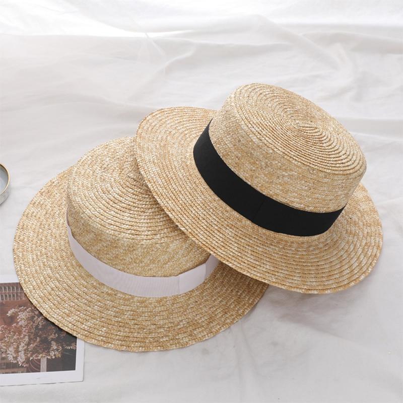 Summer Women Wide Brim Straw Hat Fashion Chapeau Lady Sun Hats Boater Wheat Panama Beach Hats Chapeu Feminino Caps H31