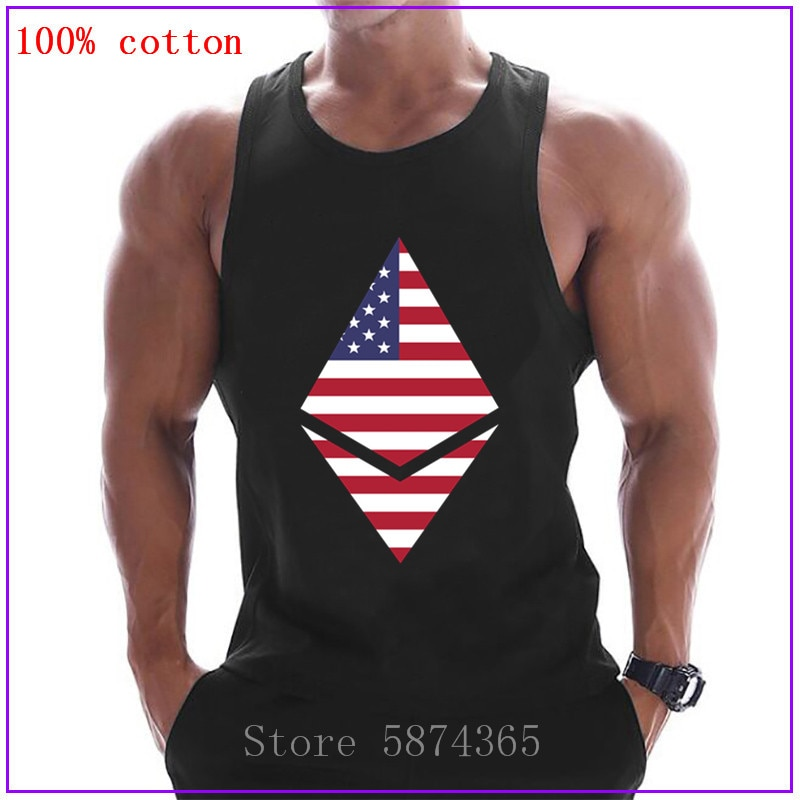 Ethereum eua logotipo sexy espartilho tanque topos homens sem mangas casual regata roupas de musculação undershirt fitness stringer colete