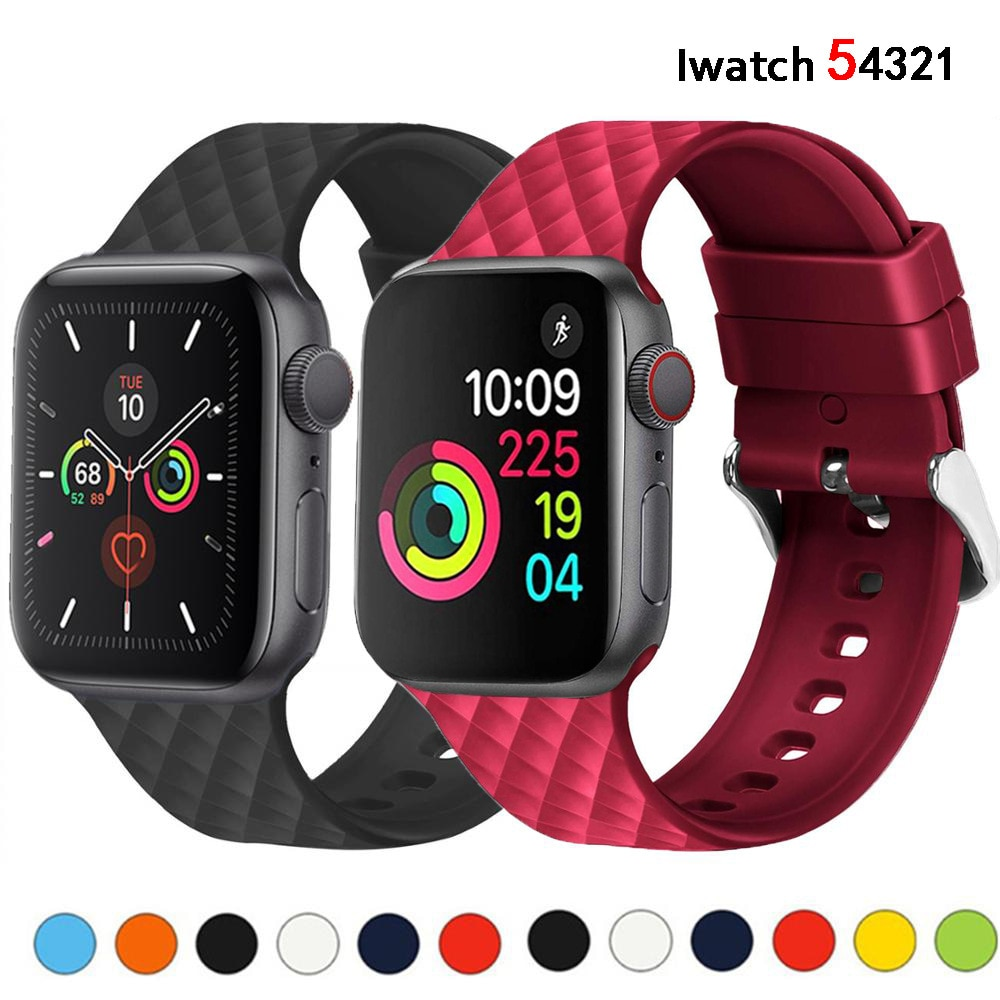 breathable strap for apple watch band 38 42mm iwatch 4 band 44 40mm sports silicone belt bracelet correa apple watch 5 4 3 2 1 for Apple watch 5 band 44 40mm for iwatch 5 4 band 38 42mm Silicone Strap Rhombic pwatchband bracelet for Apple watch 5 4 3 2 1