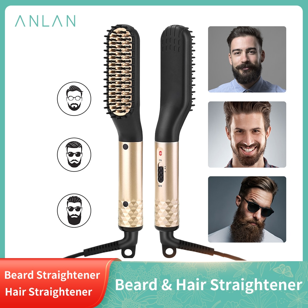 ANLAN Hair Straightener Comb Durable Electric Straight Hair Comb Brush Heated Ceramic Hair Straightening  Electric Brush EU US