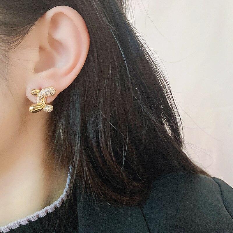 Gold Fashion Letter C 14k Earrings Original Design Bohemia Jewelry for Women gifts