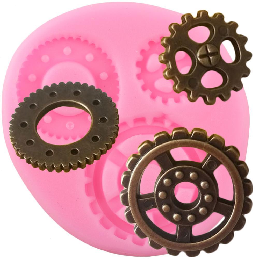 Steampunk industrial engrenagens molde de silicone chocolate doces moldes de argila do bolo de aniversário do bebê cupcake topper fondant ferramentas de decoração