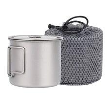 Tasse en titane 550Ml ultra-léger Portable Pot titane tasse à eau tasse pour Camping en plein air randonnée sac à dos
