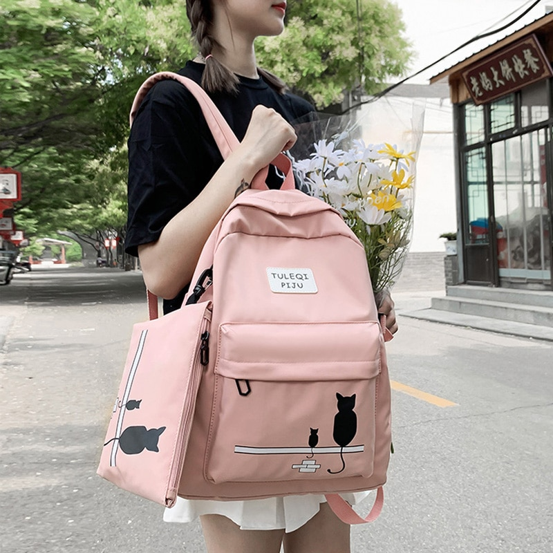 JULYCCINO College Student Ladies Cartoon cute backpack Women Two-piece student Shoulder Bags Kawaii Backpack Nylon Girl Book Bag challenges 1 student book