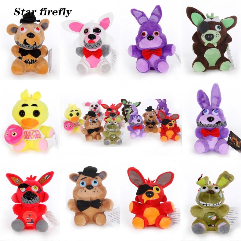 25cm FNAF Freddy Fazbear juguetes de felpa cinco noches en Freddys Golden Bear Nightmare Cupcake Foxy globo niño payaso muñecas de peluche