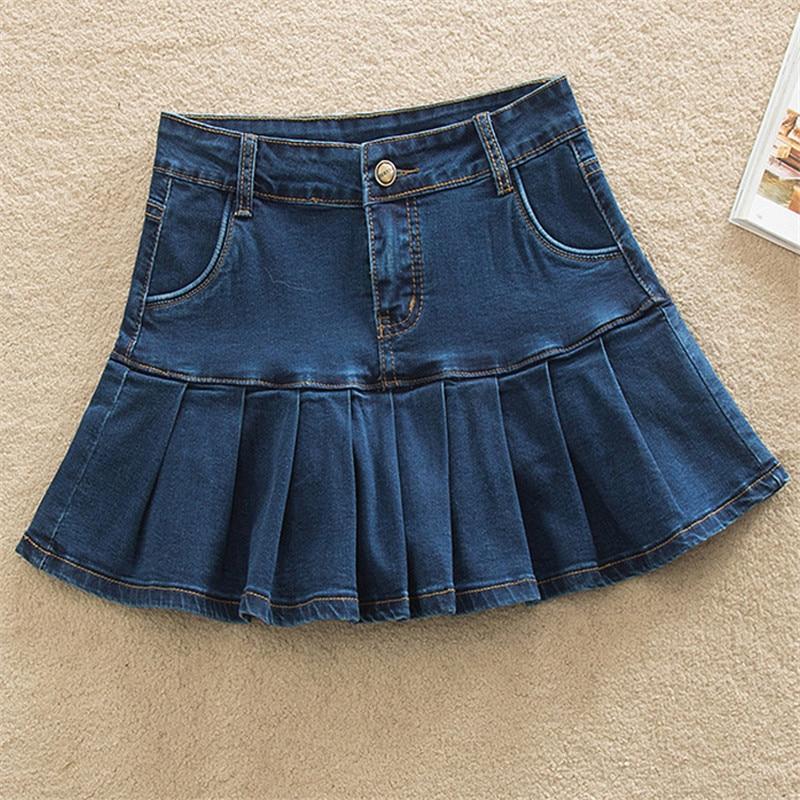 Denim Skirt With Ruffles 6XL 7XL Plus Size Jeans Skater Woman High Waist Bottom Female Casual Pleated Micro Mini Short Jurken