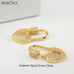 BOROSA Fashion Heart Screw Clasp Lock of Love Charm for Necklace Micro Paved CZ Gold Clasp Jewewlry Findings for Necklace WX1347