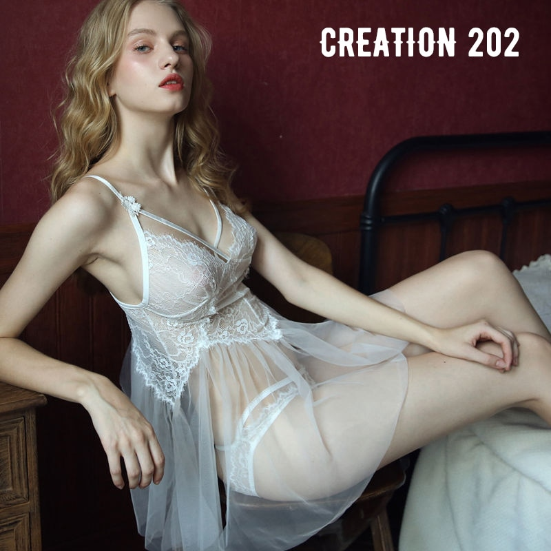 Creation 202 Womens Sexy Suit Perspective on the Lace Suspender Nightdress Home Wear