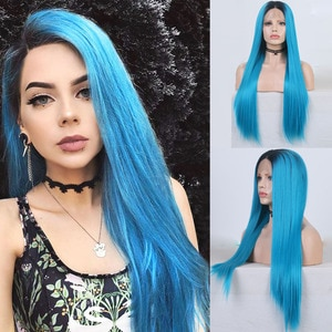 RONGDUOYI Ombre Blue Silky Straight Wigs Synthetic Lace Front Wig Heat Resistant Short Root Hair Glueless Cosplay Wigs For Women