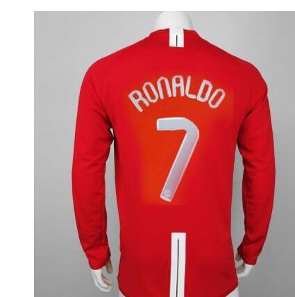 07-08 rojo Retro larga de manga larga de fútbol jersey Vintage camisetas...