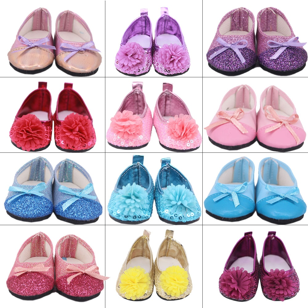 7Cm Doll Shoes Boots Baby Sequins Ballet Shoes For 43Cm Baby New Born Reborn Doll&18 Inch American For Our Generation Girl`s Toy недорого