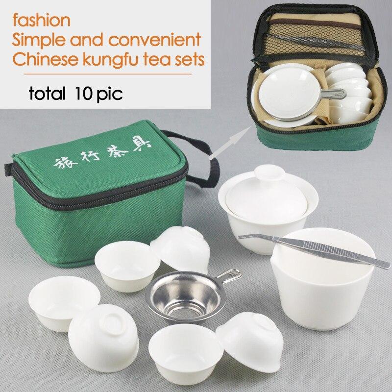 10 piezas conjuntos chino de Kung Fu té de cerámica portátil taza de té servicio de porcelana Gaiwan juego de tazas de té taza de té ceremonia tetera