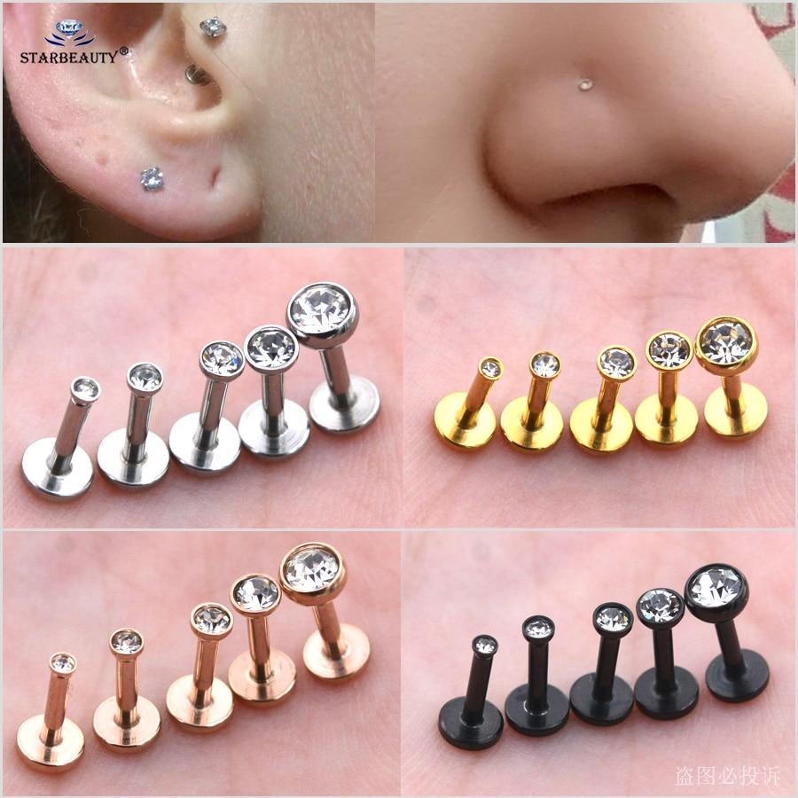Серьги-гвоздики для пирсинга носа с драгоценными камнями, ювелирные украшения для прокола губ, завитка ушной раковины, золотистые серьги-гв...