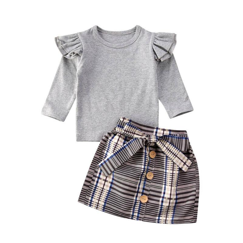 Citgeett primavera 2 uds niño chico volante para niña pequeña Tops gris camiseta Plaid Mini falda traje fiesta otoño Set