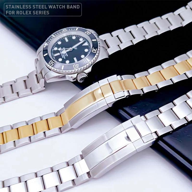 Watchbands ل رولكس حزام الغواصات دايتونا بتوقيت جرينتش يخت ماجستير الاكسسوارات ووتش الفولاذ المقاوم للصدأ حزام (استيك) ساعة سوار ساعة سلسلة
