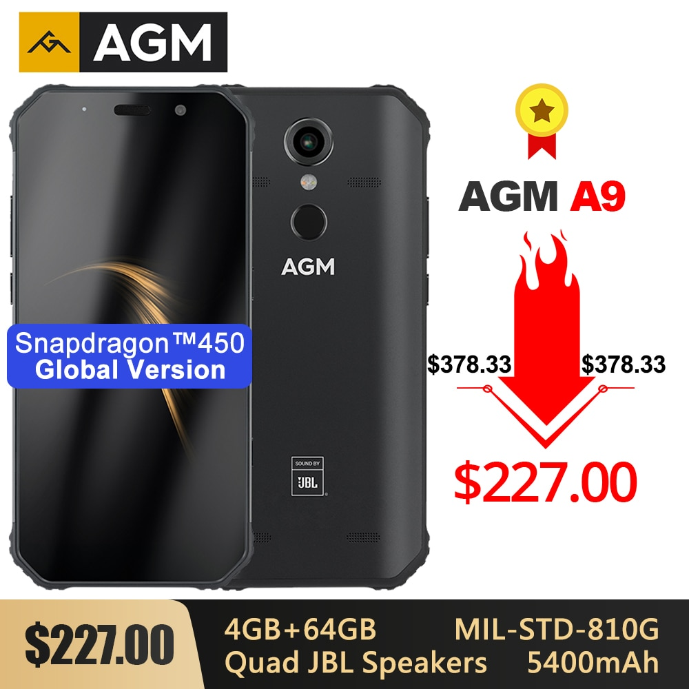 "AGM A9 resistente IP68 Smartphone resistente al agua SDM450 5,99 ""FHD + 4GB 64GB 5400mAh carga rápida 3,0 Android 8,1 Quad-caja de altavoces NFC"