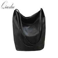 Qiaoduo Women PU leather handbag retro sheepskin bucket shoulder bag ladies Shoulder bag large capacity ladies shopping bag