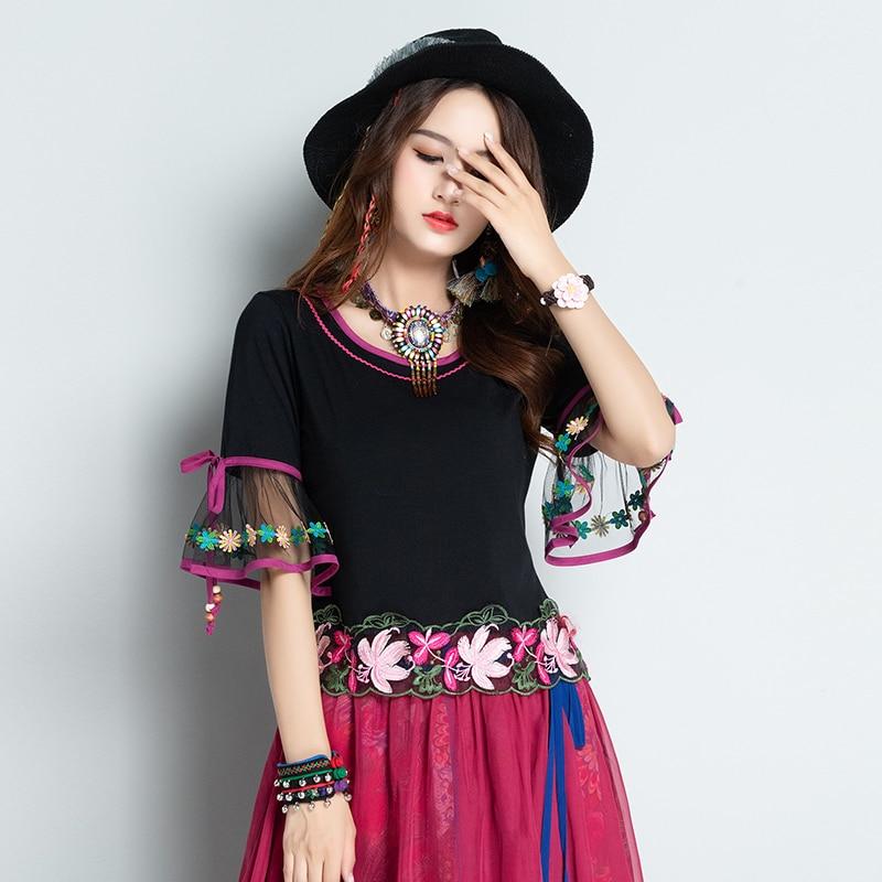 KYQIAO México estilo étnico boho gasa manga corta flare flores negras bordado camiseta para mujer camisetas verano mujer 2019