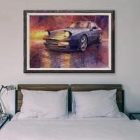 Peinture classique de voiture de course retro en argent T055  14 affiches personnalisees en soie  Art mural de decoration pour la maison  cadeau de noel