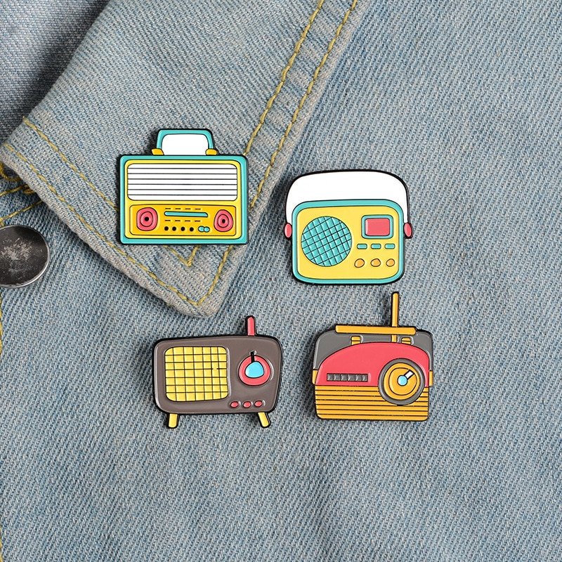 3~8 pieces/set metal enamel pin cartoon printer game machine mobile phone bag CD portable audio plant teeth mouse brooch jewelry  - buy with discount