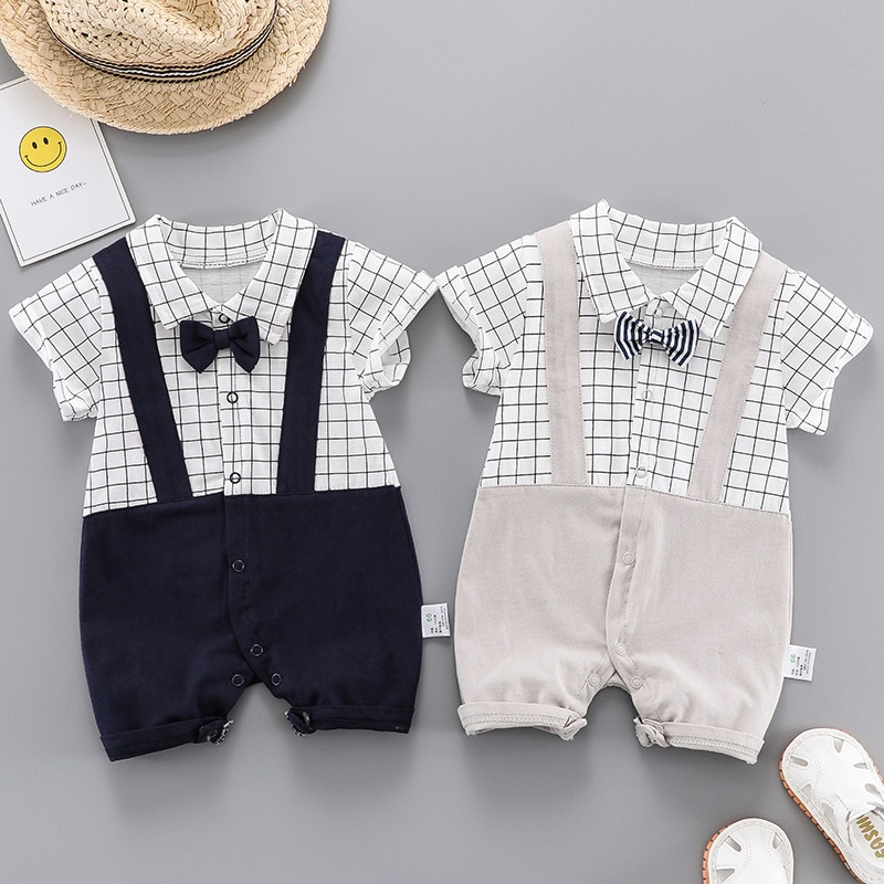Summer New Casual Baby Boy Romper Short Sleeve Thin Style Pure Cotton Turn-down Collar Soft Jumpsuits Toddler Costume For 6-12M