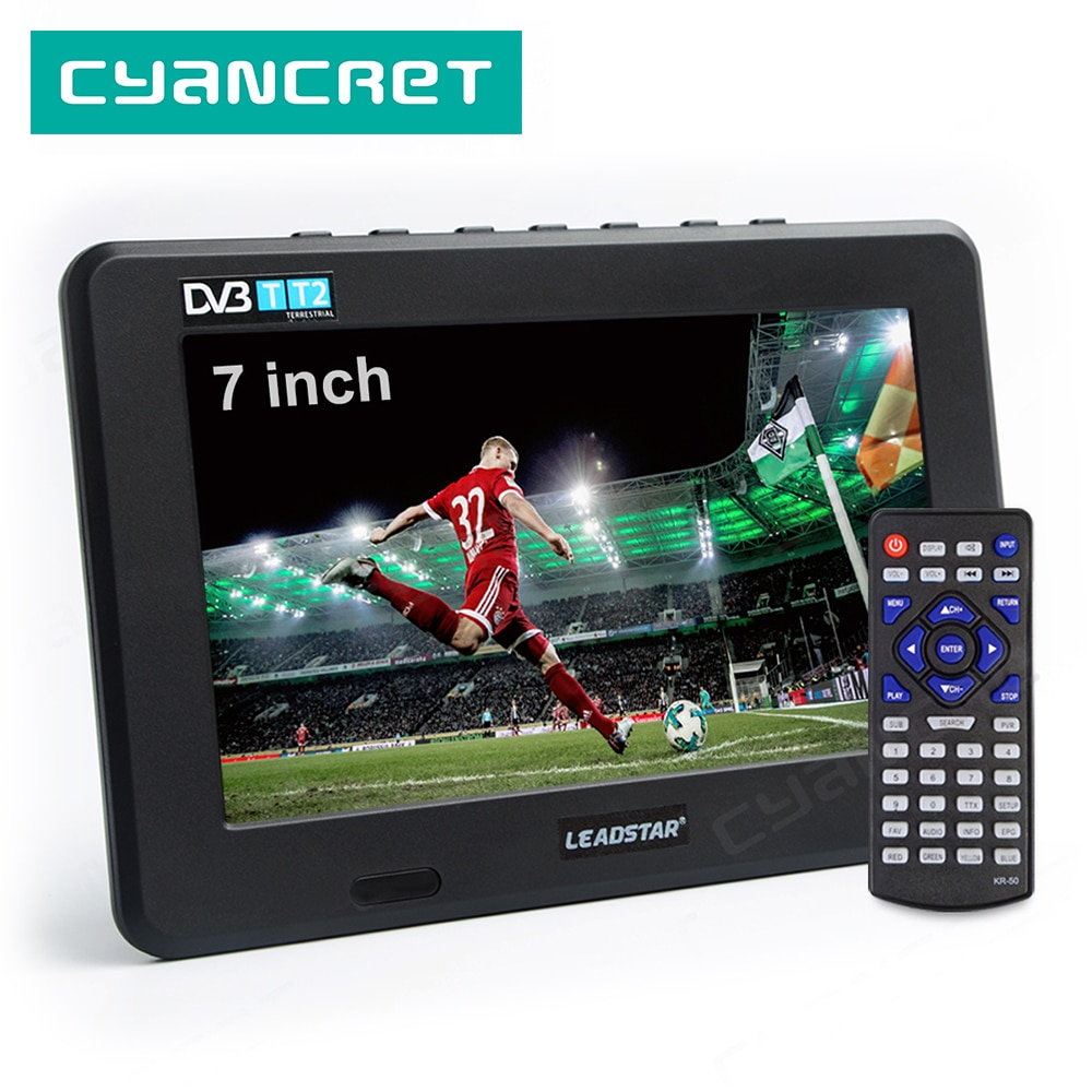 Leadstar d7 portátil tv DVB-T2 atsc ISDB-T tdt 7 polegada analógico digital mini pequeno carro tv tv suporte usb tf mp4 h.265 ac3
