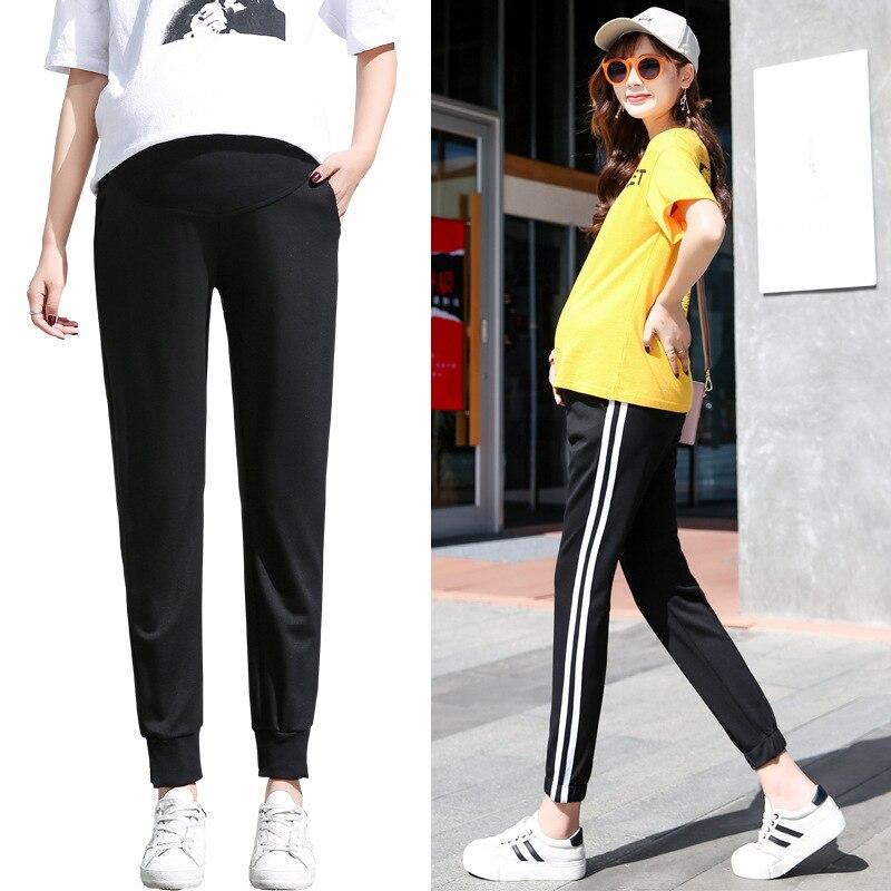 Pantalones de maternidad de talla 6XL, pantalones deportivos informales holgados, pantalones extra para primavera con cintura elástica y ropa de embarazada de otoño