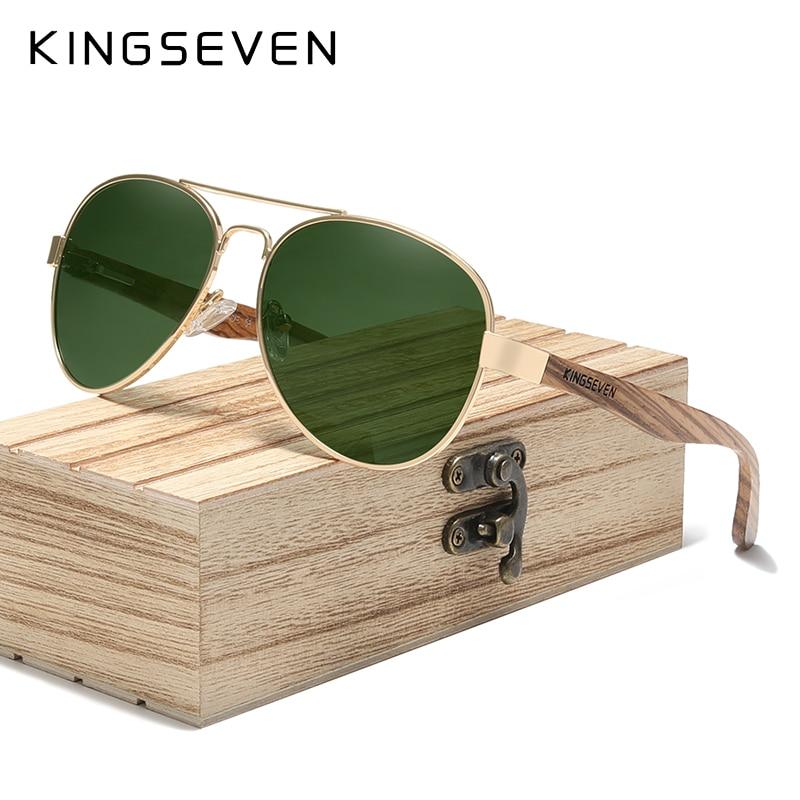 KINGSEVEN High Quality Natural Zebra Wood Temple+Alloy Frame Men Sunglasses Women UV400 Sun Glasses