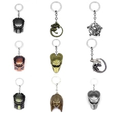AVP 외계인 프레데터 키 체인 은색/청동 도금 외계인 라운드 열쇠 고리 퀸 펜던트 열쇠 고리 열쇠 고리 선물