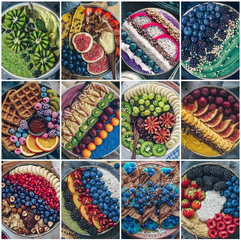 Full Square / Round 5D Diy Diamond Embroidery Fruit Craft Kit 3D Diamond Painting Food Landscape Rhinestone Mosaic Kitchen Decor
