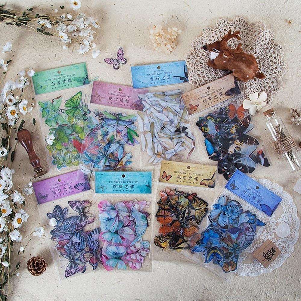 40 unids/pack pegatinas de mariposa Etiqueta de diario sello pegatina de viaje pegatina para álbum de recortes Diy planificador diario álbumes Decoración