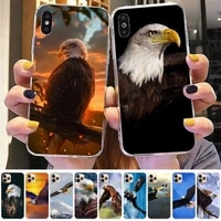 fhnblj king of birds eagle phone case for iphone 8 7 6 6s plus x 5s se 2020 xr 11 12 pro xs max