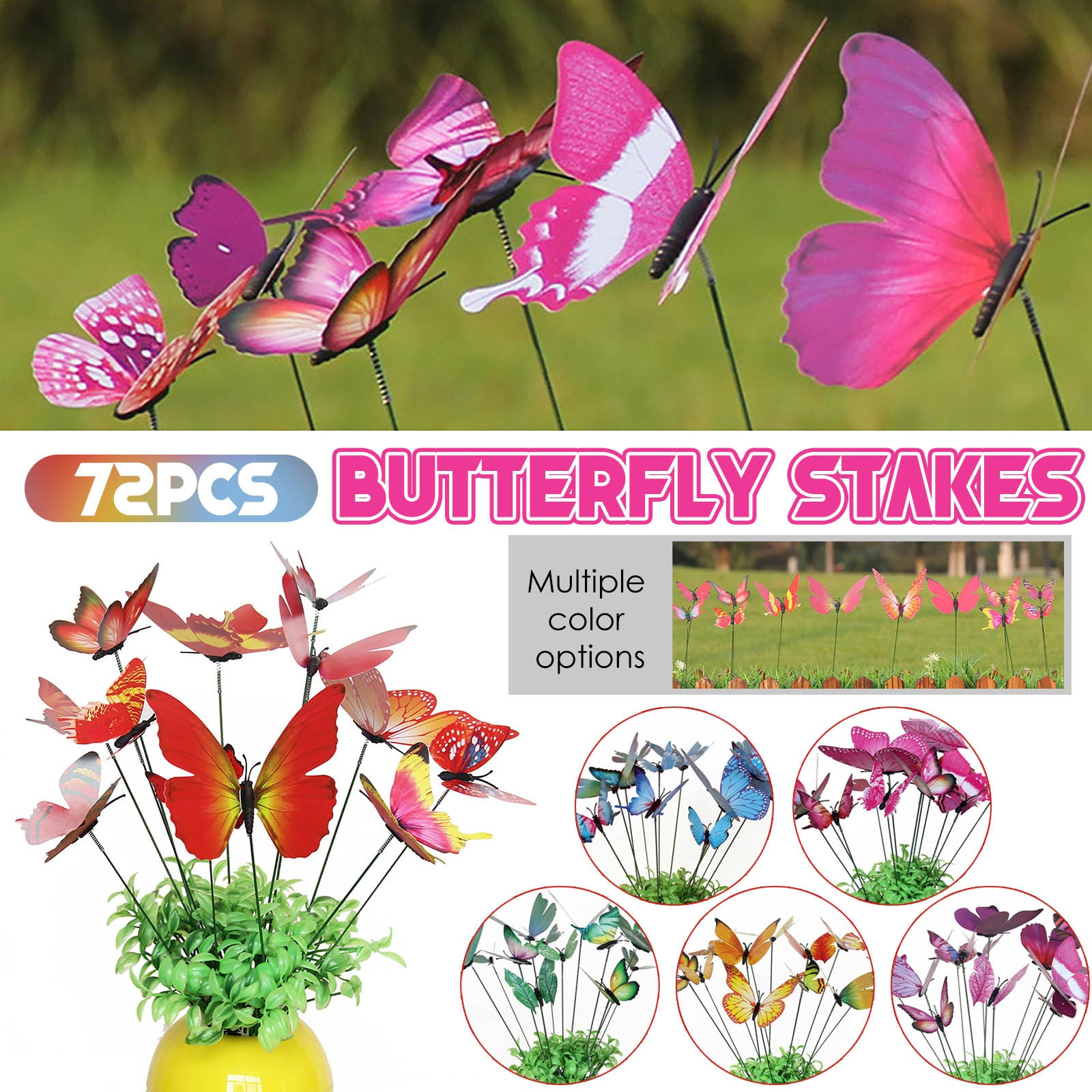 2021 Funny Creative Garden Decoration Outdoor 72pcs Butterfly Stakes Outdoor Yard Planter Flower Pot Bed Garden Decor Yard Art
