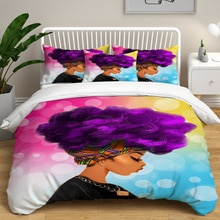 DYI-housse de couette pour femmes africaines   Imprimé, cheveux longs colorés, pour chambre, Double taie doreiller, couette, ensembles de literie