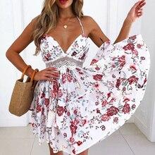 Kobiety Mini sukienka lato Sexy dekolt bez pleców koronkowa letnia sukienka plażowa 2020 bez rękawów Spaghetti pasek kwiat wydruku sukienka Boho Vestido