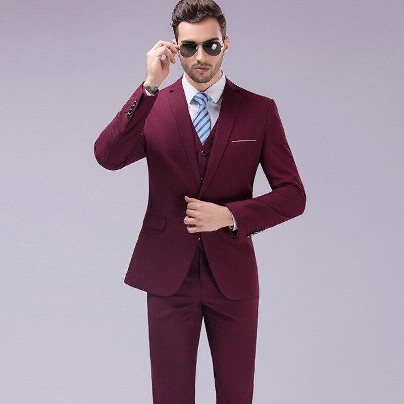 حار نمط ضئيلة الرجال الدعاوى الأعمال الذكور عادية ساحات كبيرة S-6XL العريس ارتداء (سترة السراويل سترة)