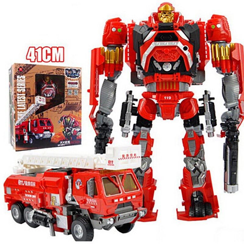 Modelo de camión de bomberos transformable, figura de plástico con luz, juguetes educativos para niños, regalos de Navidad para niños