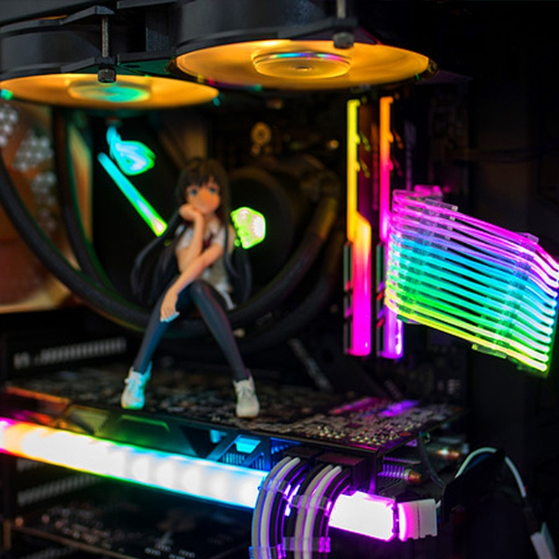 Купить с кэшбэком PSU Extension Cable RGB, ATX 24Pin RGB GPU 8Pin Streamer PCI-E 6+2P Dual Rainbow Cable 5V/12V rgb MOBO SYNC, PC Case Decoration