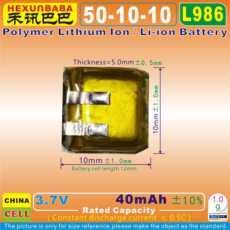 Bateria de íon de lítio de polímero/li-ion para fone de ouvido bluetooth, mp4, brinquedo, alto-falante, dvr, mp3; mp5 10 pces [l986] 3.7 v 40 mah [501010]