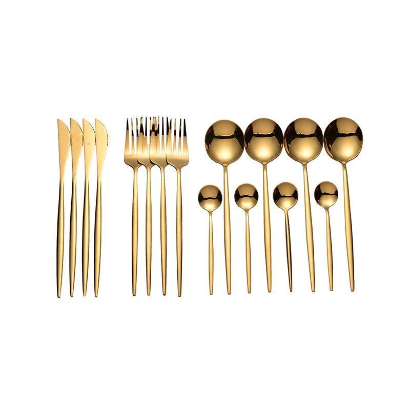 Lingeafey oro cubiertos vajilla cuchara conjunto de 16 Uds tenedor cuchara cuchillo de cocina de acero inoxidable vajilla de bodas nuevo