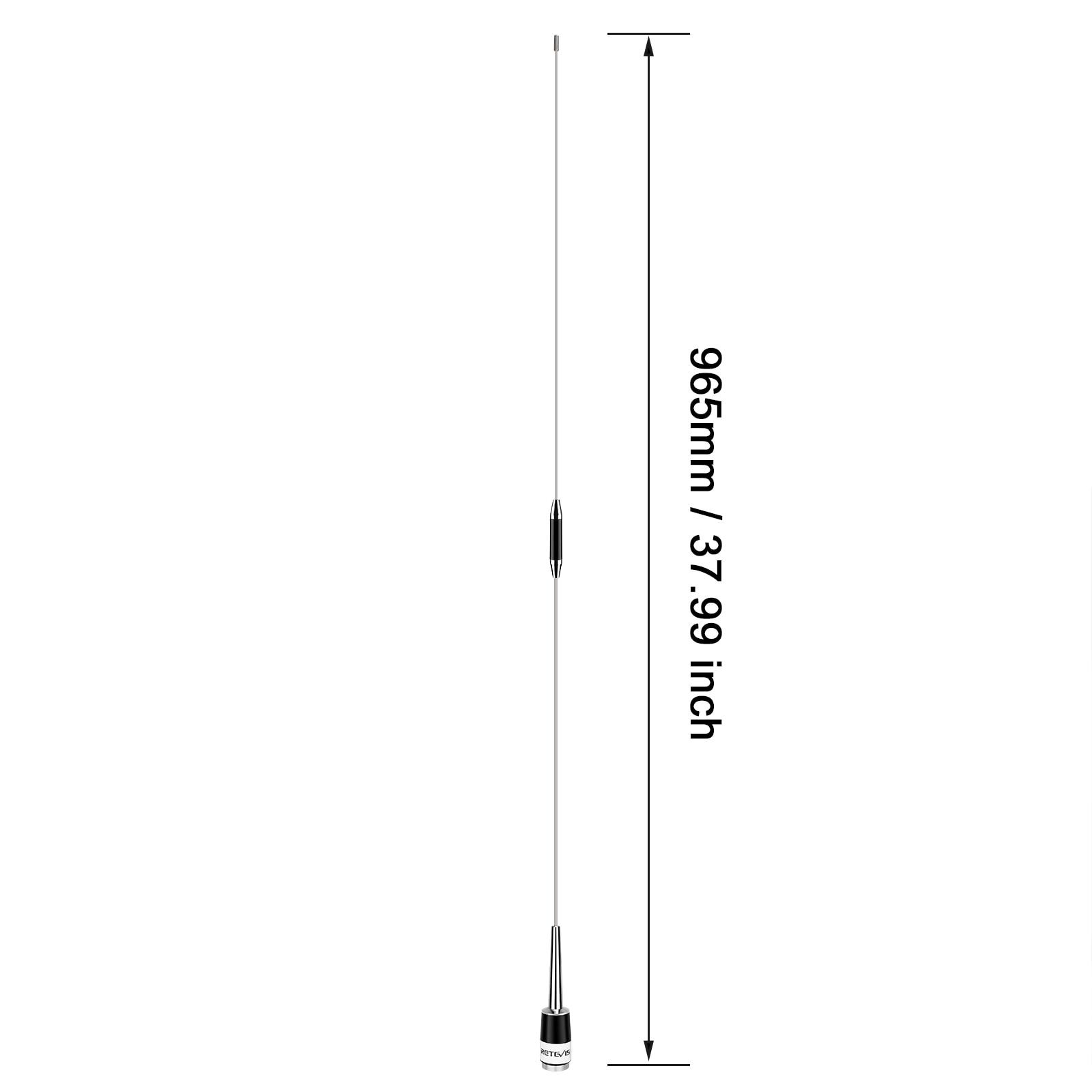 Retevis MA08 Omni-Directional Mobile Car Radio Antenna Walkie-Talkie UHF 400-470MHz 200W 5.5dBi with PL-259/SL16-J/M Connector enlarge