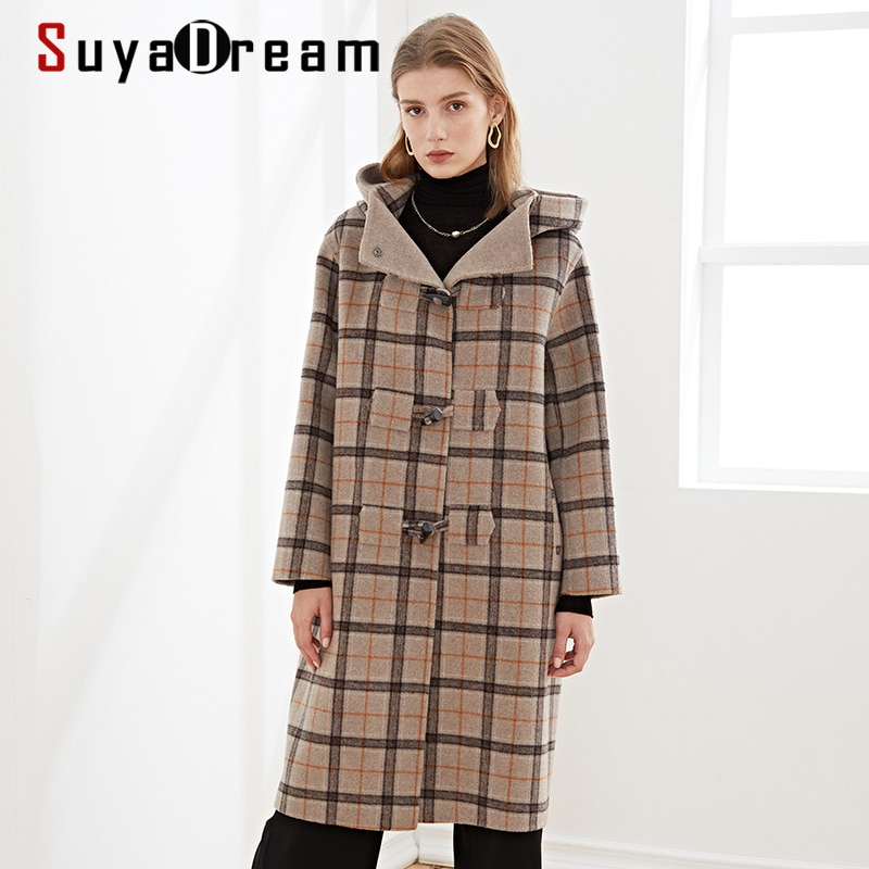 SuyaDream Handmade 80%Wool Women Hooded Long Coat Elegant Plaid Wool Blend 2020 Warm Winter Coat snap button hooded drop shoulder wool blend coat