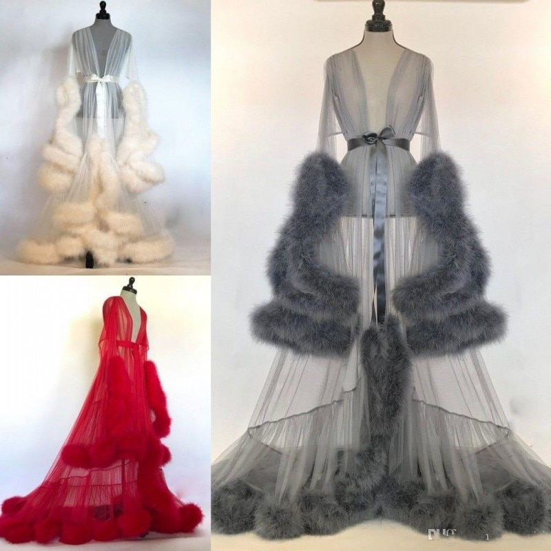 Mujer invierno Sexy Faux Fur Lady sleeping mujer Albornoz puro camisón rojo blanco gris Robe Prom dama de honor Shawel