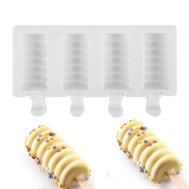 Molde de silicona para Paleta moldes de helado a rayas fabricantes de barras DIY moldes de paletas de hielo caseras